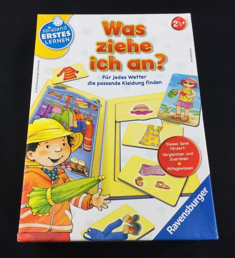 """Spieletipp: """"Was ziehe ich an?"""" von Ravensburger Schachtel"""